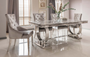 BRAND NEW GREY MARBLE CHROME LEG DINNING TABLE