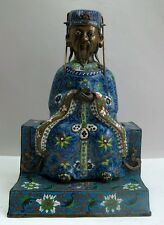 CHINESE QING DYNASTY CLOISONNE & Bronze Sculpture of Emperor  c. 1870  antique