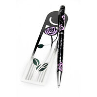 Mackintosh Pink Rose & Bud Ballpoint Pen and Bookmark Set in Presentation Box