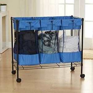 Household Essentials 7119 Rolling Triple Laundry Sorter on Wheels – Storage O...