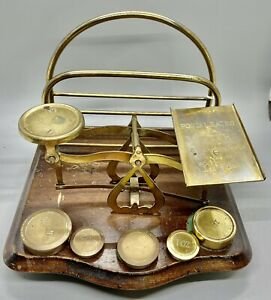 ANTIQUE ENGLISH BRASS BALANCE POSTAL SCALE  + Letter Rack WITH  Extra WEIGHTS