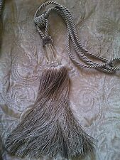 Large Faceted Glass Rope/Tassel Curtain Tieback Dove Grey International Delivery