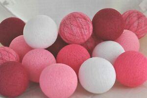 20er Lichterkette Bälle Baumwolle Weiß Pink Bordeaux Cotton ball lights LED USB