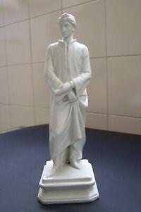 Statua in Ceramica Bianca su Piedistallo di Dante Alighieri.