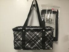4b2fd1bcd358 Womens Tote Set Cover Handbag Black White Medium Collapsable Thirty-One New  HB2