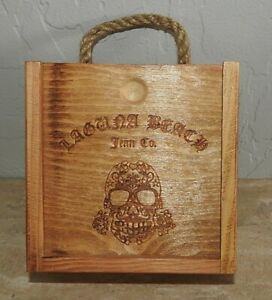 Laguna Beach Jean Co. Accessory Wooden Box w/Rope Handle Collectable Skull