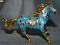 """10 """"Vieux chinois cloisonné émail dynastie fleur exécutant cheval succès Statue"""