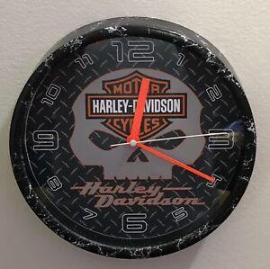 "Harley-Davidson Shield W/Skull Design Black 9"" Wall Clock"