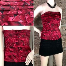WHBM Red Satin Floral Strapless Bustier Corset Top Ruched Pleated Stretch Sz 6