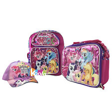 """Licensed 12"""" My Little Pony Friendship is Magic Backpack w/Lunch Bag and Cap Hat"""