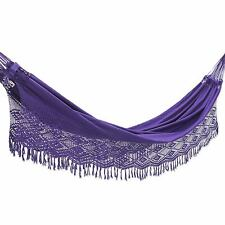 Cotton Hammock Double Crochet Purple 'Maracuya' NOVICA Brazil