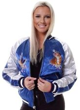 Ex Topshop WOMENS Satin BOMBER JACKET Embroidered Reversible Quilted Coat 6-16