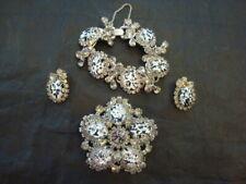 Vintage Silver Black/White Stone Rhinestone Jewelry BROOCH BRACELET EARRING SET