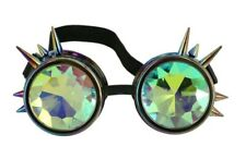 Rainbow Spiked Steampunk Costume Goggles Kaleidoscope Glasses Mens Rave Cyber