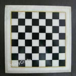 09 x 09 Inches Marble Chess Cum Coffee Table Top White Side Table Unique Pattern