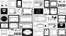 Small Talk Black and White Quilt Labels 36 label per panel by Studio E