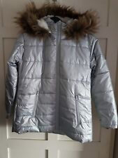 Girls Children Parka Coat Jacket Silver Hooded Long Sleeves Faux Fur 4-5 Years