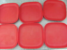 6 VTG TUPPERWARE CHILDS TUPPERTOYS RED MINI PLATES #2100 PRETEND PLAY TOYS