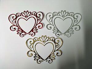 6 x heart die cut card toppers, love, romance, wedding, anniversary