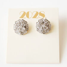 New 2028 Rhinestone Flower Stud Earrings Gift Fashion Lady Party Holiday Jewelry