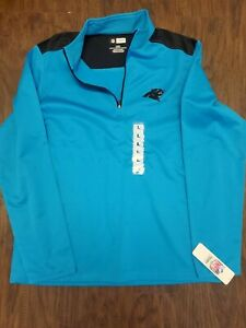 Carolina Panthers Mens Large NFL Team Apparel Mock Neck 1/4 Zip Long Sleeve