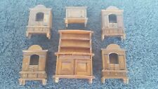 Vintage Doll House Wood Furniture Dining Kitchen Furniture X 6 Pieces Lot #49