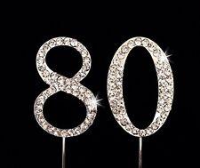 80th Birthday / Wedding Anniversary Number Cake Topper with Sparkling Rhinestone