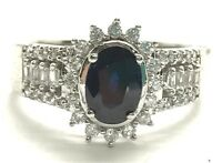 Sterling Silver 925 Oval Blue Sapphire CZ Burst Halo Elegant Cocktail Band Ring