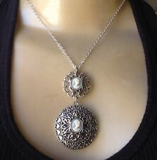 Cameo Locket Necklace Large Victorian Revival Floral Filigree Pendant