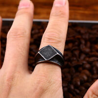 Men's Square Retro Trend Gothic Rocker Black Silver Titanium Steel Ring Size7-13
