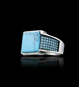 Solid 925 Sterling Silver Turkish Handmade Jewelry Turquoise Men's Ring All Size