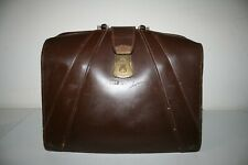 Vintage Brown Leather Case Large Doctor's Bag Crest lock with Old Art Supplies