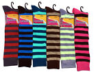 6,12 Pairs Women Mamia Multi-Color Fancy Design Knee High Socks Size 9-11   ST1