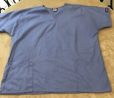 Cherokee Blue Scrub Top Medical Uniform Size Large Many Pockets