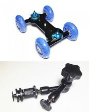 "ROLLING Track Slider Dolly Car Skater + 7"" Magic Arm per DSLR Rig macchina fotografica UK"