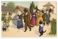 011621 VINTAGE MAINZER DRESSED CATS POSTCARD BABY CHRISTENING 1954