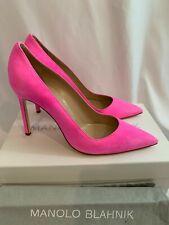 Manolo Blahnik Suede BB 105 Heels Stiletto Pumps NEW Size 39.5 Neon Hot Pink