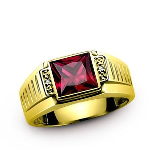 Solid 10K YELLOW Fine GOLD Men's Ring with Red Ruby and Diamond Accents all size