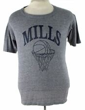 MILLS BASKETBALL GRAY TRI BLEND RAYON RUSSELL GYM USA VINTAGE T SHIRT MEDIUM