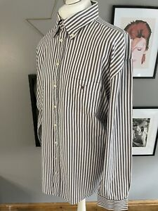 "GANT Purple White Stripe Washer Banker Casual Long Sleeve Shirt 4XL XXXXL 54"" 56"