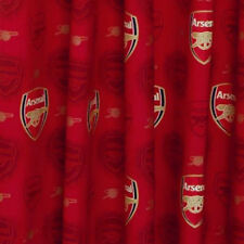"ARSENAL DARK RED CREST 66"" x 72"" PENCIL PLEAT READY MADE 100% COTTON CURTAINS"