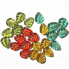 Autumn Leaf with Gold Inlay Beads Glass Fall Color Mix Green Teal Gold Red 10mm