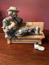 """Emmett Kelly Jr Clown Figurine """"Wet Paint"""" By Flambro Damaged"""