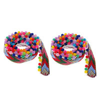 2yds Pom Pom Trim Ball Fringe Ribbon Sewing Accessory Lace DIY Bag Curtain