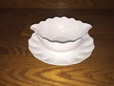 CORAIL WHITE By Giraud China Limoges ~ Gravy Boat ~ France