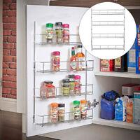 4 Tier Spice Rack Organizer Wall Mount Door Storage Kitchen Shelf Pantry Holder