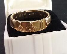 Vintage 14K Solid Gold MASONIC RING Mens Wedding Band Style Size 10 ½ FREE MASON