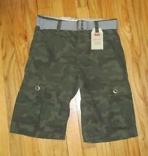 Levis Boys Green Camo Cargo Shorts with Belt 12, 16 NWT $42