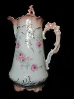 VINTAGE FURSTENIBERG BRUNSWICH GERMANY CHOCOLATE POT COFFEE POT PEACH TRIM ROSES
