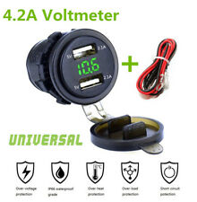 Car Dual USB Charger Socket Power Outlet 4.2A with Voltmeter & Cable Waterproof